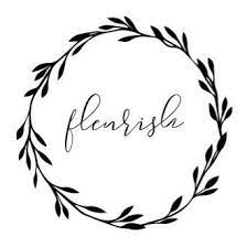Wreath with leaves inside the circle the word Fleurish