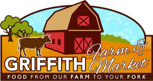 Red barn, brown cow in pasture. Griffith Farm & Market Logo