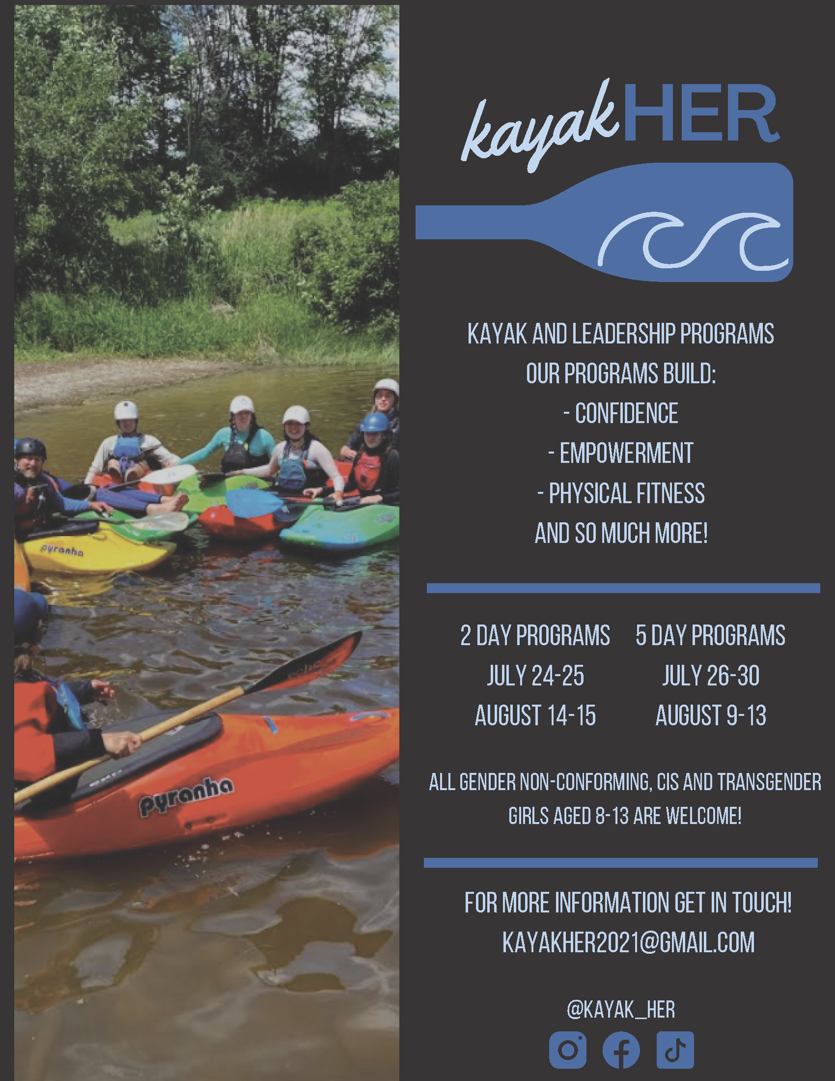Poster of kayakers and camp dates