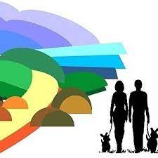 Colourful background representing the outdoors. Two people and two dogs on a lease