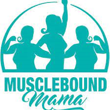 3 blue shapes of women showing off their muscles. Muscle Bound Mama logo