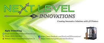 Background fading from green to white. With arrows pointing in different directions, along with a little 3D person sitting next to a 3D printer. Next Level Innovations logo