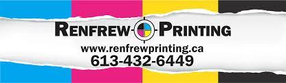 Renfrew Printing, overlaid on 4 colour sheets of paper: blue, pink, yellow and black