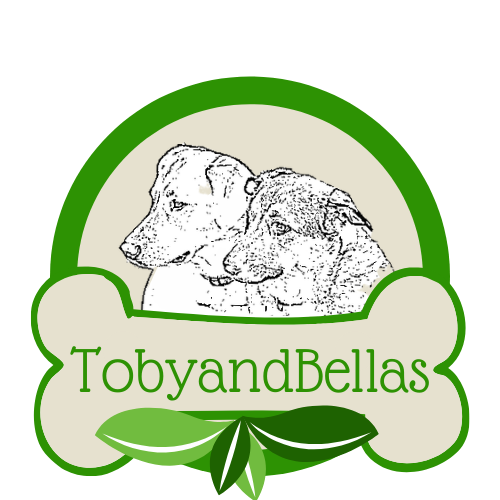 Two dogs in a half circle, with a bone at the bottom. Toby and Bellas logo