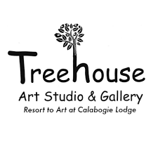 Tree growing out of the h, in Treehouse Art Studio and Gallery logo