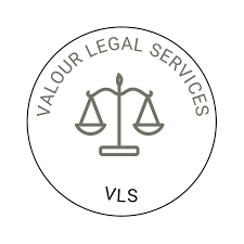 Scales of justice in a circle. Valour Legal Services logo
