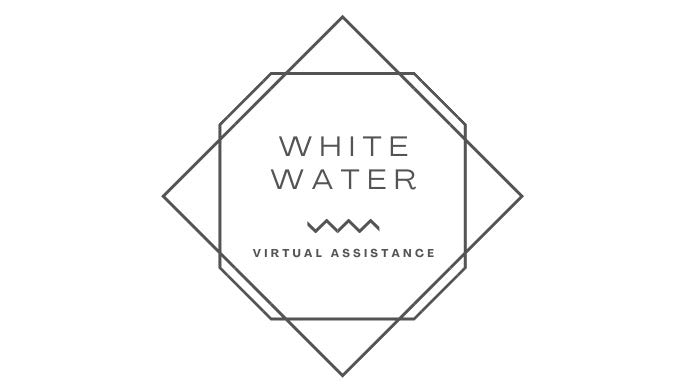 Rounded square inside a Square turned sideways. Logo_White Water Virtual Assistance