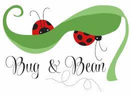 Two red and black lady bugs on a green leaf. Bug and Bean Logo