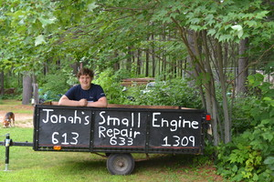 <b>Jonah Yutronkie - Jonah's Small Engine Repair - 2014</b><br />Jonah repairs small engines, changes oil, completes general tune-ups and maintenance, on lawnmowers, ATVs and other unique machines.