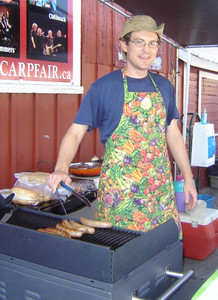 <b>Roland Wilhelm: Roli's Rolled Sausages 2010</b><br /> Roland provided fresh cooked sausages and healthy choices of salads, pesto and sauces. Which he sold at the Carp Farmers Market