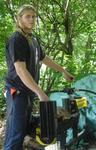 <b>Angus Cairnie: Cairnie Firewood 2009</b><br />Angus cuts and splits firewood to his clients specific requirements for their home heating furnaces.