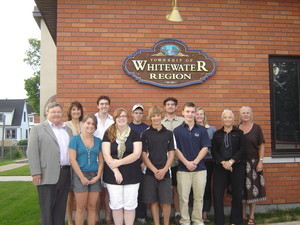 <b>Summer Company Launch 2010</b><br />Front row, l- r, Mayor Donald Rathwell (Township of Whitewater Region), Emily Hitchins, Jeanette Tubby, Kyle Martinat, Matthew Harrington, MaryAnn Taman,(Representing the office of MPP, John Yakabuski). Back row: Nicole Whiting, mentor, Bert Lockhart, Kris Tiedemann, Roland Wilhelm, Annise Dobson, and Maggie Tyerman, mentor