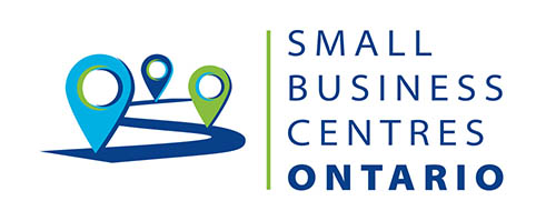 Small Business Centres Ontario Logo, blue winding road with place markers